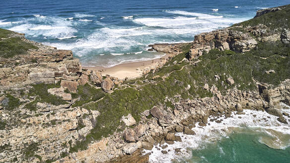 South Africa, Robberg Nature Reserve, Aerial view of rocky coast - VEGF01541