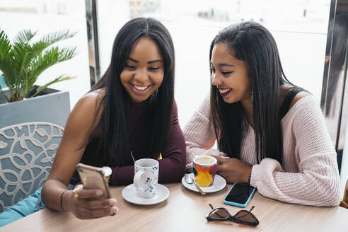 Two happy young women sharing cell phone in a cafe - MPPF00492