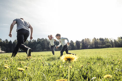 Family with two kids having fun together on a meadow in spring - WFF00270