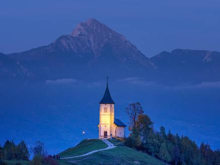 Slovenia, Church of St Primoz near Jamnik at dusk - HAMF00602