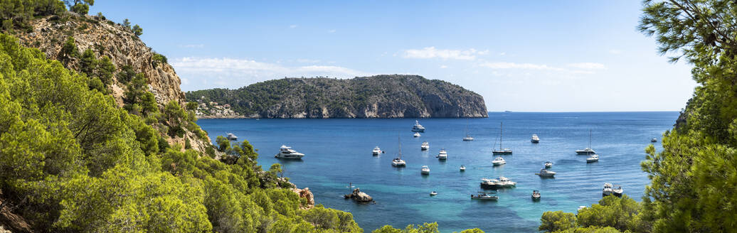 Spain, Balearic Islands, CampdeMar, Panorama of various boats floating in bay ofMallorcaisland - AMF07896