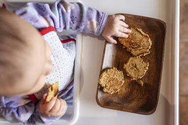 Baby girl sitting in high chair eating homemade oatmeal cookies with hands, top view - GEMF03460