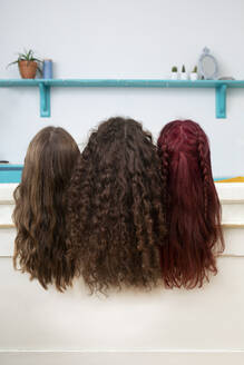 Back view of three sisters with long hair - PSTF00661