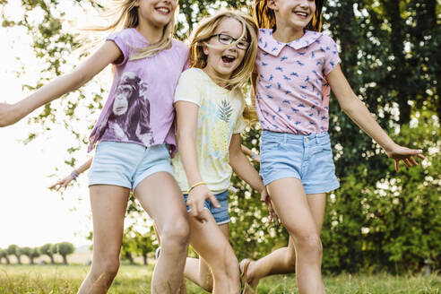 Happy girls running on a field in the countryside - SODF00642