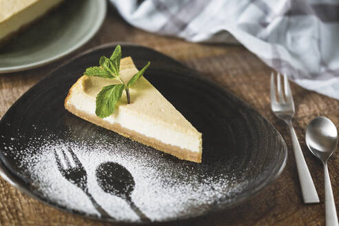 Plate of homemade cheesecake with tahini - JUNF01736