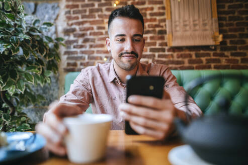 Portrait of a smiling man in a cafe looking at cell phone - KIJF02945