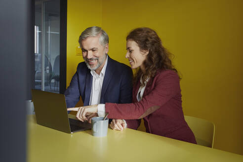 Smiling businessman and businesswoman working together on laptop in office cubicle - RBF07099