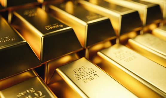 Full Frame Shot Of Gold Ingots In Bank - EYF01028