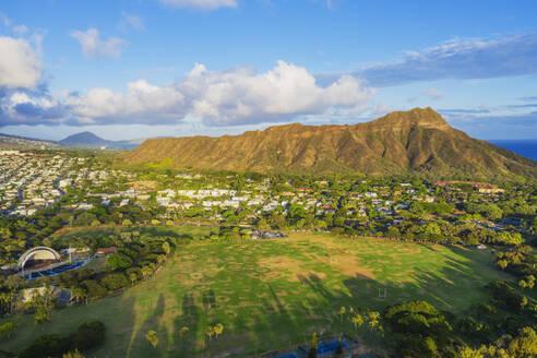 Aerial view by drone of Diamond Head, Waikiki, Honolulu, Oahu Island, Hawaii, United States of America, North America - RHPLF14122