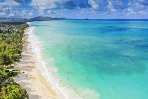 Aerial view by drone of Waimanalo beach, Oahu Island, Hawaii, United States of America, North America - RHPLF14134