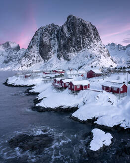 Rorbuer fishermen's huts in the snow, Hamnoy, Moskenesoya, Lofoten Islands, Nordland, Norway, Scandinavia, Europe - RHPLF14479