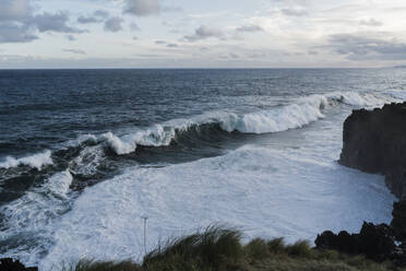 Breaking waves at the coast, Sao Miguel Island, Azores, Portugal - AFVF05805