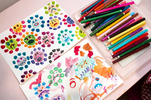 Children's drawings of ugly viruses made with watercolors and color markers - GEMF03503