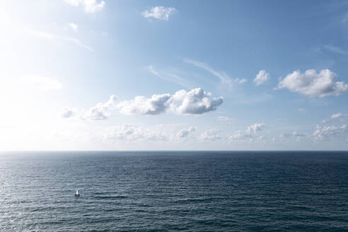 Spain, Biscay, Bilbao, Aerial view of clear line of horizon over Atlantic Ocean on sunny day - AMAF00003