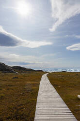 Footpath leading to sunny coast Disko Bay West Greenland - HOXF05799
