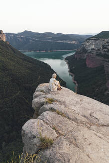 Hiker on viewpoint, Sau Reservoir, Catalonia, Spain - AMAF00007