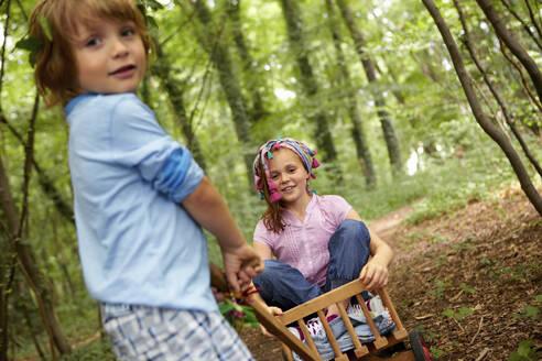 Children playing in forest - AUF00191