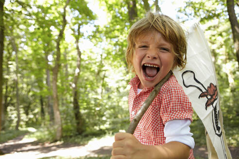 Portrait of screaming boy carrying pirate flag in forest - AUF00206