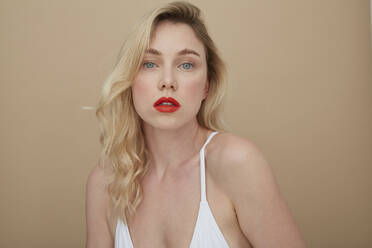 Portrait of lascivious young woman with red lips - PGCF00072