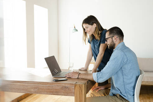 Smiling couple working at laptop from home in home office in modern living room - SBOF02219