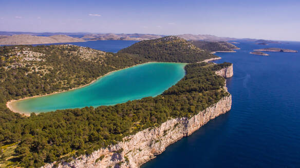 Aerial view of famous lake Mir, part of Telascica nature park and part of Kornati national park group in Croatia. - AAEF07312