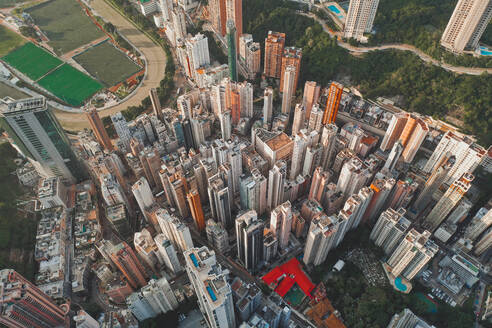 Aerial view of Hong Kong's skyline with highrising apartments, Hong Kong. - AAEF07746