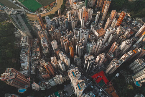 Aerial view of Hong Kong's skyline with highrising apartments, Hong Kong. - AAEF07749
