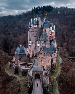 Aerial view of Eltz castle, Wierschem, Mayen-Koblenz Germany - AAEF07887