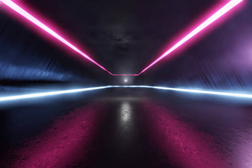 Three dimensional render of futuristic corridor illuminated by blue and purple neon lighting - SPCF00602