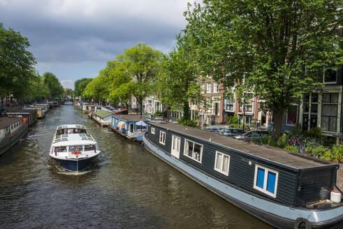 Hausboote, Prinsengracht, Amsterdam, Provinz Nordholland, Niederlande, - LBF03026