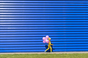 Little girl with pink balloons wearing yellow tracksuit walking in front of blue background - ERRF03244