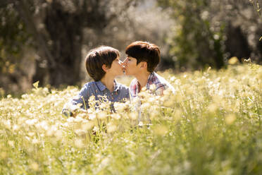 Mother and daughter kissing in a field of wildflowers - VSMF00095