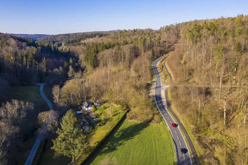 Germany, Baden-Wurttemberg, Lichtenwald, Aerial view of highway cutting throughSchurwald forest - WDF05946