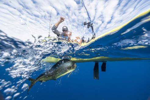 Split shot of man in a kayak catching a fish - AMUF00048