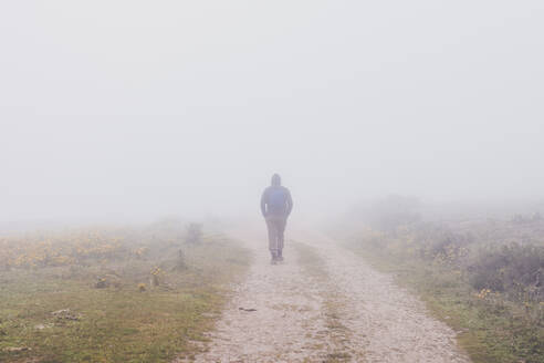 Spain, Cantabria, Silhouette of lone man walking along countryside dirt road shrouded in fog - FVSF00111