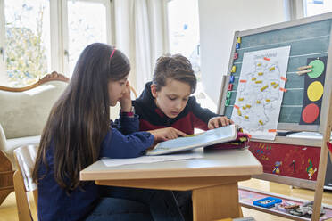 Brother and sister learing at home during school closure - DIKF00432