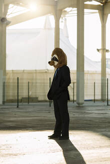 Businessman in black suit with meerkat mask standing at backlight, Barcelona, Spain - XLGF00028