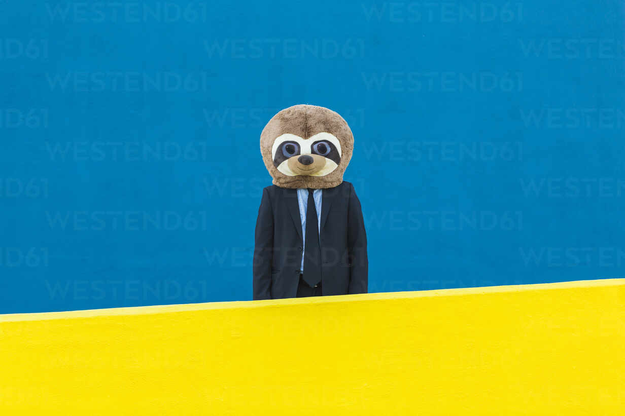 Portrait of businessman with meerkat mask standing behind yellow wall in front of blue background - XLGF00058 - Xavier Lorenzo/Westend61