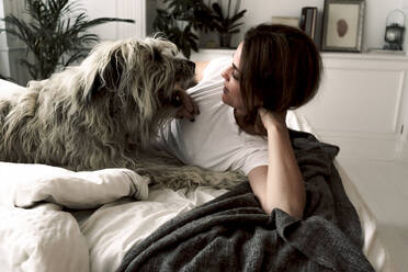 Mature woman lying on bed playing with her dog - ERRF03481