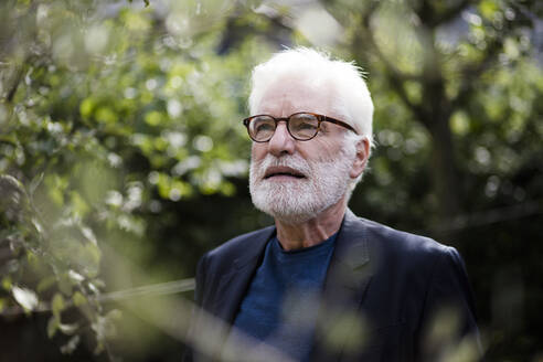 Portrait of bearded senior man with white hair looking at distance - JOSEF00255