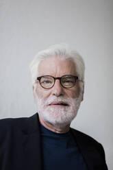 Portrait of bearded senior man with white hair wearing glasses - JOSEF00267