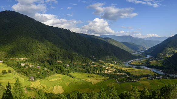 Bhutan, Yepaisa Village, Village and terraced fields in forested mountain valley - TOVF00179