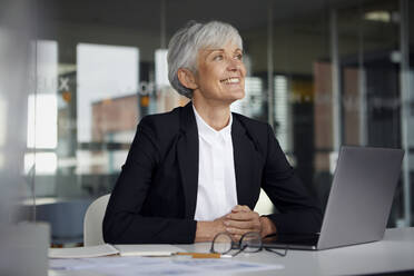 Senior businesswoman at desk in her office - RBF07615