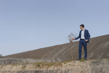 Mature businessman with a bare tree on a disused mine tip - JOSEF00403