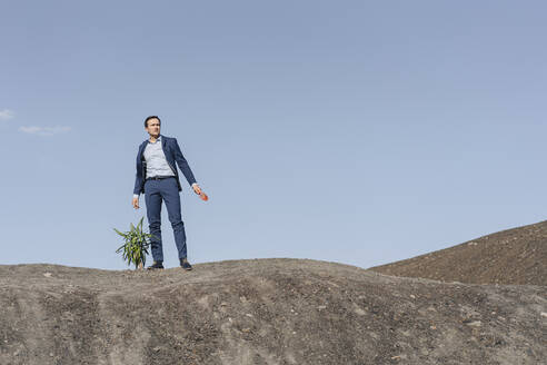 Mature businessman with a plant standing on a disused mine tip - JOSEF00409