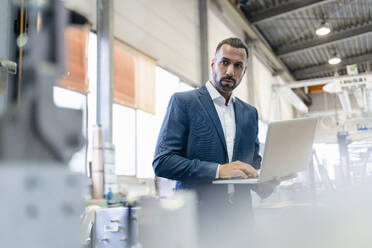 Businessman using laptop in a factory - DIGF09947
