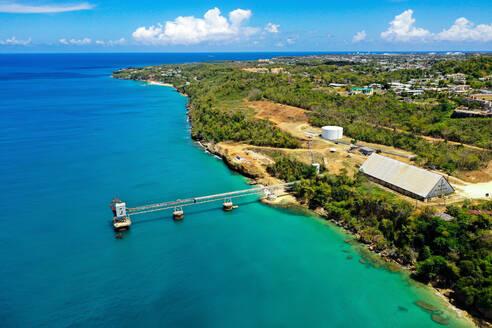 Aerial view of old sugar export dock in Aguadilla, Puerto Rico. - AAEF08193