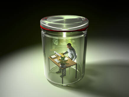 3D rendering of man working at desk, isolated in preserving jar - RWF00123