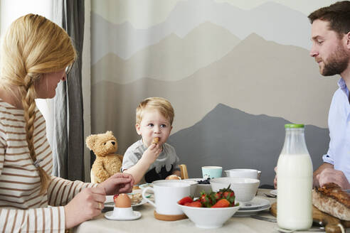Portrait of little boy having breakfast  with his parents at home - FSF01044