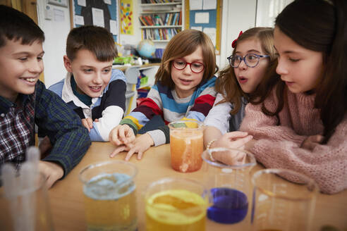 Group of children in a science chemistry lesson - PWF00068